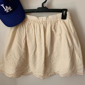 EUC Cream Scalloped Lace/embroidered skirt